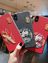 cheap -Case For Apple Applicable to Retro Crane Xr Anti-drop Mobile Phone Shell XsMax Embroidery Embossed iPhone X Chinese Style 7Plus/6Plus Palace Wind Silicone 8Plus/6/7/8 Personality Men and Women Models