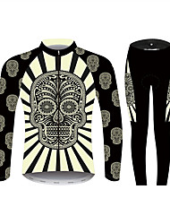 cheap -21Grams Sugar Skull Men's Long Sleeve Cycling Jersey with Tights - Black / White Bike Clothing Suit Windproof UV Resistant Breathable Sports Winter 100% Polyester Mountain Bike MTB Clothing Apparel