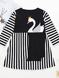 cheap -Kids Toddler Girls' Basic Street chic Striped Geometric Animal Patchwork Print Long Sleeve Above Knee Dress Black