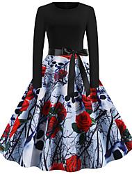Недорогие -Жен. Уличный стиль С летящей юбкой Платье - Абстракция До колена