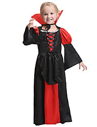 cheap -Vampire Dress Cosplay Costume Halloween Props Masquerade Costume Kid's Girls' Halloween Halloween Halloween Children's Day Masquerade Festival / Holiday Other Material Polyster Red+Black Carnival