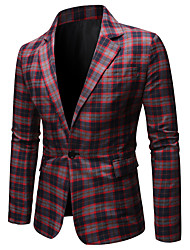 cheap -Men's Blazer, Check Shirt Collar Polyester Blue / Red