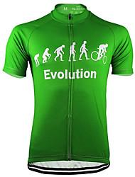 abordables -21Grams Homme Manches Courtes Maillot Velo Cyclisme Noir Jaune Vert Évolution Cyclisme Maillot Hauts / Top VTT Vélo tout terrain Vélo Route Résistant aux UV Respirable Evacuation de l'humidité Des