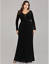 cheap -A-Line V Neck Floor Length Tulle Elegant / Vintage Inspired Formal Evening Dress with 2020 / Illusion Sleeve