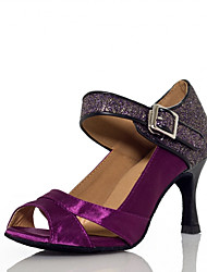cheap -Women's Latin Shoes Heel Glitter Splicing Flared Heel Purple Ankle Strap Cross Strap Sparkling Shoes