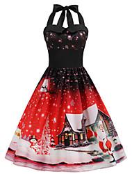 cheap -Women's Vintage A Line Dress - Snowflake Snowman, Backless Patchwork Print Halter Neck Purple Fuchsia Blue S M L XL Belt Not Included