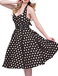cheap -Audrey Hepburn Polka Dots Retro Vintage 1950s Summer Dress Women's Costume Black / White / Red Vintage Cosplay Sleeveless Knee Length