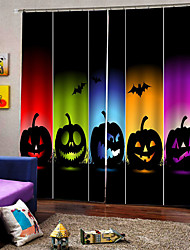 cheap -New Arrival  Digital Printing Colorful Pumpkin Lamps Luxury Window Curtain for Party Hallowmas Decor