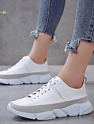 cheap -Women's Athletic Shoes Flat Heel Round Toe PU Running Shoes Summer Black / White