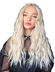 cheap -Synthetic Lace Front Wig Wavy Middle Part Lace Front Wig Blonde Long Light golden Synthetic Hair 18-26 inch Women's Adjustable Heat Resistant Party Blonde