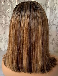 cheap -Virgin Human Hair Remy Human Hair 13x6 Closure Lace Front Wig Bob Free Part style Brazilian Hair Straight Silky Straight Multi-color Brown Wig 150% Density Women's Short Human Hair Lace Wig