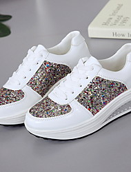 cheap -Women's Sneakers Flat Heel Round Toe Synthetics Running Shoes Summer White / Gold / Silver
