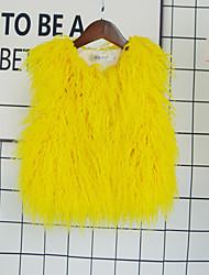 cheap -Kids Girls' Active Basic Solid Colored Regular Faux Fur Jacket & Coat Black
