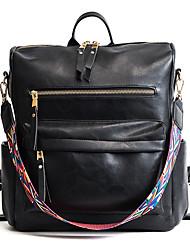 Недорогие -Большая вместимость Кожа PU PU Молнии рюкзак Сплошной цвет Повседневные Черный / Розовый / Коричневый / Наступила зима