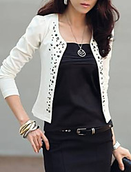 cheap -Women's Daily Basic Short Jacket, Solid Colored Collarless Long Sleeve Polyester Rivet White / Black