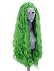 Недорогие -Синтетические кружевные передние парики Волнистый Стиль Боковая часть Лента спереди Парик Зеленый Искусственные волосы 20-26 дюймовый Жен. Регулируется Жаропрочная Для вечеринок Зеленый Парик Длинные