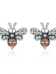 cheap -High Quality 100% 925 Sterling Silver Bee Story Clear CZ Exquisite Stud Earrings for Women Fashion Silver Jewelry SCE344