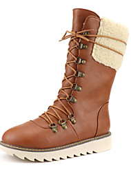 cheap -Women's Boots Snow Boots Flat Heel Round Toe Faux Leather Mid-Calf Boots Classic / Minimalism Fall & Winter Black / Dark Brown / Yellow
