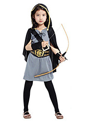 cheap -Robin Hood Cosplay Costume Masquerade Kid's Girls' Cosplay Halloween Party Halloween Festival Halloween Carnival Masquerade Festival / Holiday Polyster Gray Carnival Costumes Solid Colored