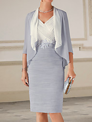 cheap -Sheath / Column V Neck Knee Length Chiffon 3/4 Length Sleeve Wrap Included Mother of the Bride Dress with Appliques 2020