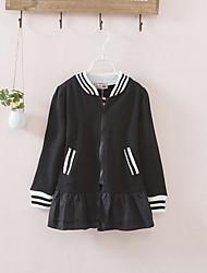 cheap -Kids Toddler Girls' Boho Street chic Solid Colored Ruffle Long Suit & Blazer Black