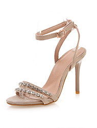 cheap -Women's Sandals Stiletto Heel Open Toe Rhinestone / Buckle Faux Leather Sweet / Minimalism Walking Shoes Summer / Spring & Summer Black / Almond / Pink / Color Block