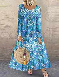 cheap -Women's Maxi Yellow Blue Dress Elegant A Line Floral V Neck S M