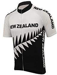 abordables -21Grams Nouvelle-Zélande Drapeau National Homme Manches Courtes Maillot Velo Cyclisme - Noir / Blanc Vélo Hauts / Top Résistant aux UV Respirable Evacuation de l'humidité Des sports Térylène VTT Vélo