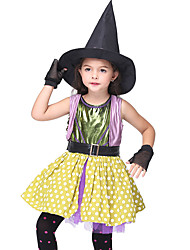 cheap -Witch Dress Cosplay Costume Hat Halloween Props Masquerade Kid's Girls' Cosplay Halloween Halloween Festival Halloween Children's Day Masquerade Festival / Holiday Satin / Tulle Fabric Black / Orange