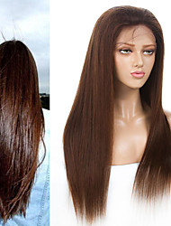 cheap -Remy Human Hair 4x13 Closure Wig Middle Part Side Part Free Part style Brazilian Hair Straight Wig 130% Density Women Best Quality New New Arrival Hot Sale Women's Medium Length Human Hair Lace Wig