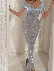 cheap -Sheath / Column V Neck Ankle Length Sequined Sparkle / Grey Party Wear / Nightclub Dress with Tassel 2020