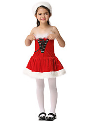 cheap -Santa Suit Dress Girls' Kid's Christmas Christmas Christmas Cotton Fabric Dress