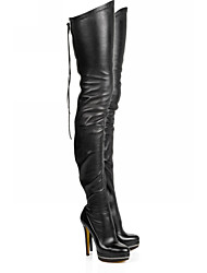 cheap -Women's Boots Over-The-Knee Boots Stiletto Heel Round Toe PU Thigh-high Boots Fall & Winter Black