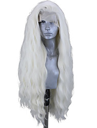 cheap -Synthetic Lace Front Wig Wavy Side Part Lace Front Wig Blonde Long Platinum Blonde Synthetic Hair 18-26 inch Women's Adjustable Heat Resistant Party Blonde