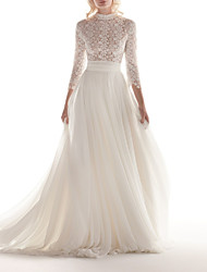 cheap -A-Line High Neck Sweep / Brush Train Chiffon / Lace 3/4 Length Sleeve Formal Illusion Detail Made-To-Measure Wedding Dresses with Appliques 2020