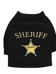 cheap -Dogs Shirt / T-Shirt Vest Dog Clothes Black Black Costume Dalmatian Corgi Beagle Cotton Fabric Quotes & Sayings Stars Casual / Daily Simple Style XS S M L