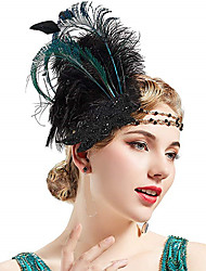 cheap -Vintage 1920s The Great Gatsby Flapper Headband Women's Feather Costume Head Jewelry White / Green Vintage Cosplay Festival / Headwear / Headwear