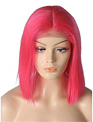 cheap -Remy Human Hair Lace Front Wig Bob Middle Part style Brazilian Hair Straight Red Wig 130% Density Women's Short Human Hair Lace Wig beikashang