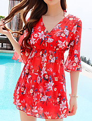 cheap -Women's Rashguard Swimsuit Swimwear Breathable Quick Dry Short Sleeve 3-Piece - Swimming Surfing Water Sports Painting Floral / Botanical Autumn / Fall Spring Summer / Micro-elastic