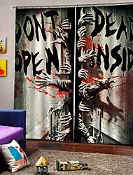 abordables -thème d'halloween heureux la porte de l'enfer fond rideau 3d digtal impression blackout rideaux de fenêtre coutume prêt pour le salon