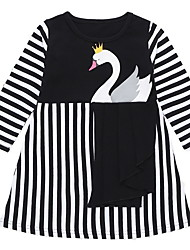 cheap -Kids Girls' Basic Animal Long Sleeve Knee-length Dress Black