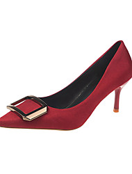 cheap -Women's Heels Kitten Heel Pointed Toe PU Minimalism Summer Black / Red / Daily