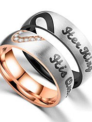 cheap -Couple's Couple Rings Ring 1pc Black Rose Gold Stainless Steel Circular Vintage Basic Fashion Promise Jewelry Crown Cool