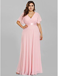 cheap -A-Line V Neck Floor Length Chiffon / Satin Plus Size / Pink Wedding Guest / Prom Dress with Pleats / Ruched 2020