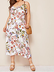 cheap -Women's Plus Size Tropical Leaf Sheath Dress - Sleeveless Floral Backless Ruffle Strap Boho Street chic Loose White XL XXL XXXL XXXXL