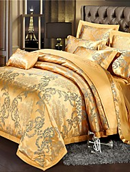 cheap -Duvet Cover Sets Floral / Botanical / Chinese Red Cotton Jacquard / Embroidery / Printed & Jacquard 4 PieceBedding Sets