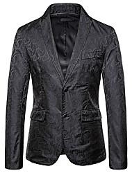 cheap -Men's Blazer, Geometric Shirt Collar Cotton / Polyester Black / Khaki