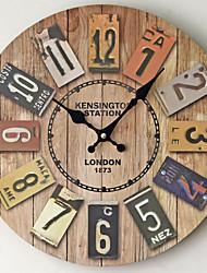 Недорогие -Современный современный / Мода деревянный Круглый Классика В помещении Батарея Украшение Настенные часы Цифровой Дерево Да