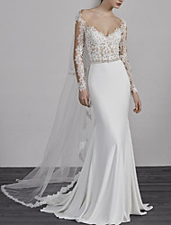 cheap -Mermaid / Trumpet Wedding Dresses V Neck Sweep / Brush Train Lace Charmeuse Long Sleeve Beautiful Back with Buttons Beading Appliques 2020