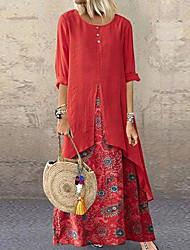 cheap -Women's Plus Size Maxi Swing Dress - Half Sleeve Polka Dot Purple Red Yellow Green Brown S M L XL XXL XXXL XXXXL XXXXXL